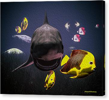 Shark And Fishes Canvas Print