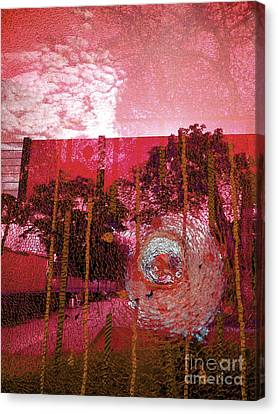 Canvas Print featuring the photograph Abstract Shattered Glass Red by Andy Prendy