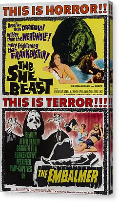 She-beast, On A Double Bill Poster Canvas Print by Everett