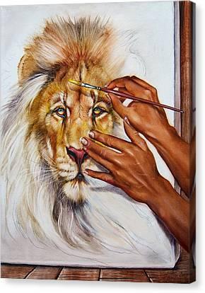 She Paints Him  Canvas Print by Martin Katon