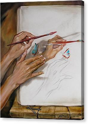 She Paints Canvas Print by Martin Katon