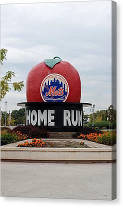 Shea Stadium Home Run Apple Canvas Print by Rob Hans