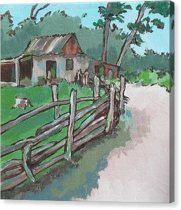 Sheep Sheering Shed Canvas Print by Sandy Tracey