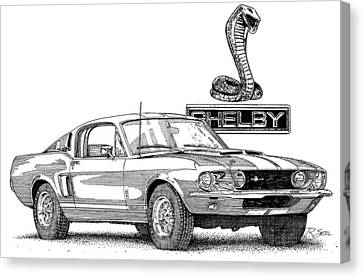 Canvas Print featuring the painting Shelby Gt350 by Rod Seel
