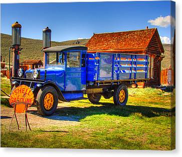 Shell Gas Station And Blue Truck In Bodie Ghost Town Canvas Print by Scott McGuire