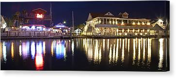 Shem Creek By Night - Panoramic Canvas Print by Donni Mac