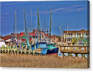 Shem Creek Shrimpers Canvas Print by Bill Barber
