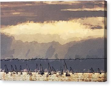 Shilshoe Marina Races 3 Canvas Print by Arthur Kuntz