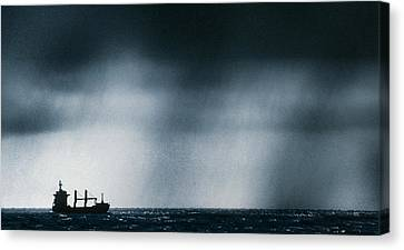 Ship At Sea Caught In Stormy Weather Canvas Print by Geoff Tompkinson