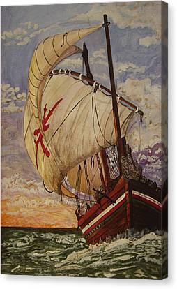Canvas Print featuring the painting Ship On A Tossing Sea by Joy Braverman