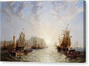 Shipping Off Scarborough Canvas Print by John Wilson Carmichael