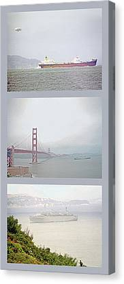 Shipping Triptych - San Francisco Bay Canvas Print by Steve Ohlsen