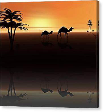 Canvas Print featuring the digital art Ships Of The Desert by David Dehner