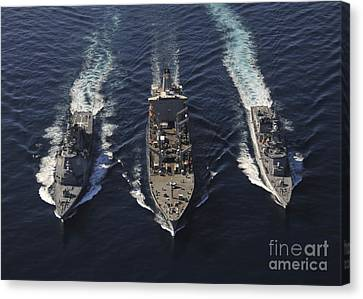 Ships Of The George Washington Carrier Canvas Print by Stocktrek Images