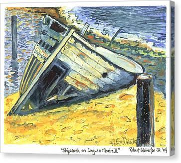 Shipwreck On Laguna Madre II Canvas Print by Robert Wolverton Jr