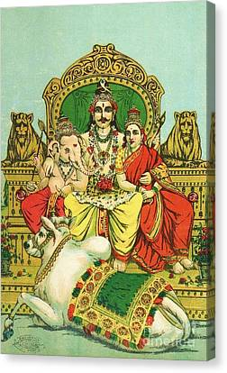 Shiva - Parvati Canvas Print by Pg Reproductions