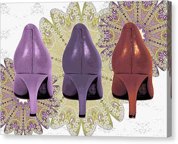 Digital Art Of High Heels Canvas Print - Shoes In Muted Shades by Maralaina Holliday