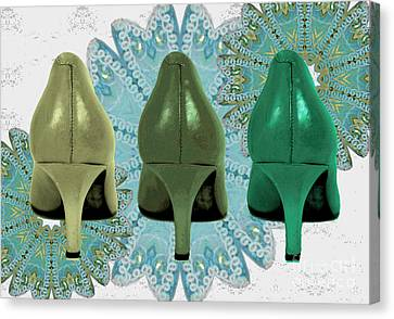 Digital Art Of High Heels Canvas Print - Shoes In Shades Of Green by Maralaina Holliday
