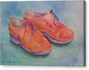 Shoes Of A Different Colour Canvas Print by Laurel Thomson