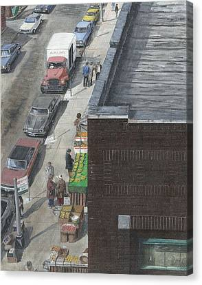 Canvas Print featuring the painting shopping bklyn ny 1970S by Stuart B Yaeger