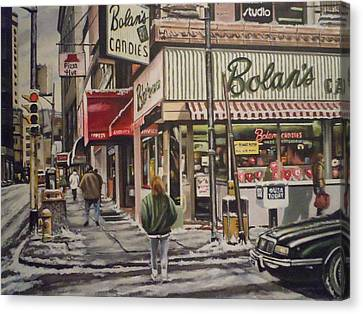 Canvas Print featuring the painting Shopping For A Heart by James Guentner