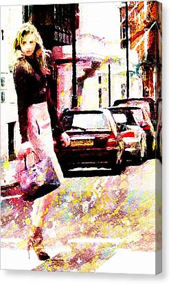 Shopping Girl Canvas Print by Andrea Barbieri