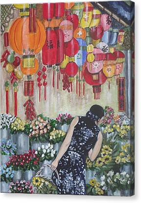 Shopping In Chinatown Canvas Print by Kim Selig