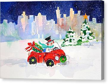 Shopping In The City Canvas Print by Suzy Pal Powell