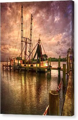 Shrimp Boat At Sunset II Canvas Print by Debra and Dave Vanderlaan
