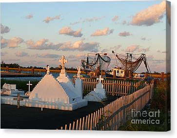 Canvas Print featuring the photograph Shrimp Boats And Cemetery by Jeanne  Woods