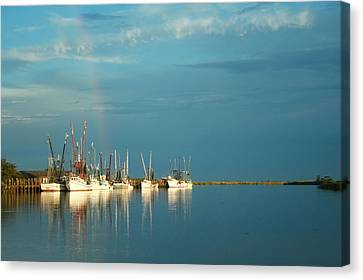 Shrimp Boats In Darien 2 Canvas Print by Mary Hershberger