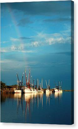 Shrimp Boats In Darien Canvas Print by Mary Hershberger