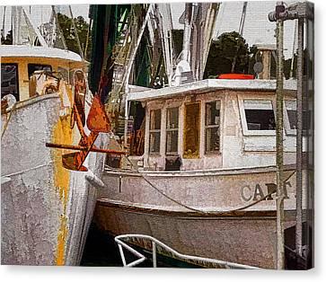 Shrimp Boats Canvas Print by Larry Bishop
