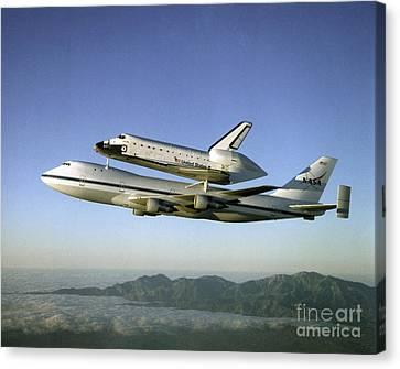 Shuttle Atlantis Piggyback, Boeing 747 Canvas Print by Nasa