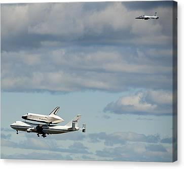 Shuttle Enterprise And Escort Canvas Print by Roni Chastain