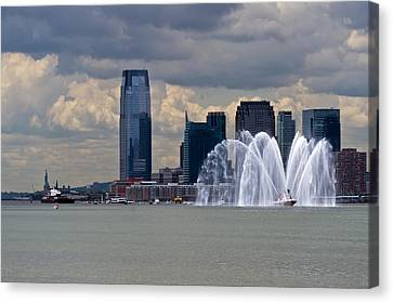 Shuttle Enterprise And Fire Boat Canvas Print by Gary Eason