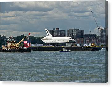 Shuttle Enterprise Flag Escort Canvas Print by Gary Eason