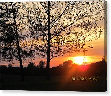 Canvas Print featuring the photograph Shy Sunset by Tina M Wenger
