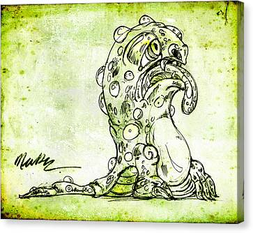 Canvas Print featuring the drawing Sick Monster  by Nada Meeks