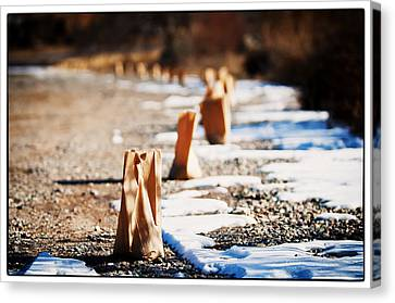 Canvas Print featuring the photograph Side Road Luminaries by Lisa  Spencer