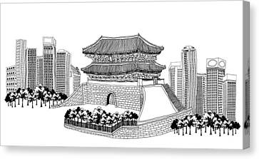 Side View Of Pagoda And Trees, Skyscrapers In Background Canvas Print by Eastnine Inc.