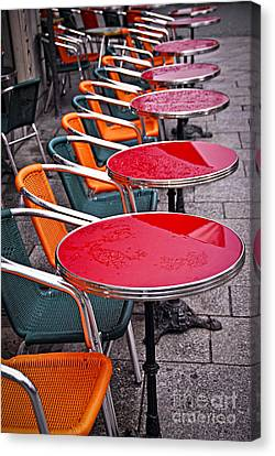 Sidewalk Cafe In Paris Canvas Print by Elena Elisseeva