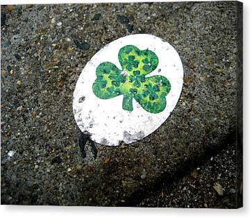 Sidewalk Shamrock Canvas Print by Sheryl Burns