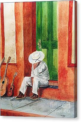 Canvas Print featuring the painting Siesta Time by Tom Riggs