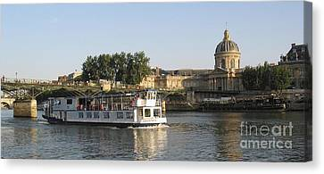 Sightseeing Boat On River Seine. Paris Canvas Print by Bernard Jaubert