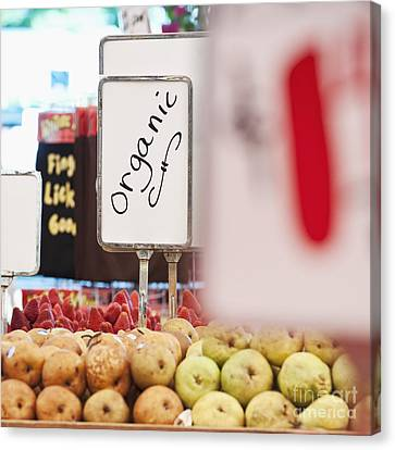 Sign Advertising Organic Produce Canvas Print