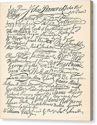 Signatures Attached To The American Declaration Of Independence Of 1776 Canvas Print by Founding Fathers