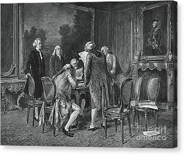 Signing Treaty Of Peace, 1782 Canvas Print by Photo Researchers