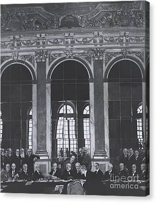 The Treaty Of Versailles Canvas Print - Signing Treaty Of Versailles, 1919 by Omikron