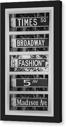 Signs Of New York In Black And White Canvas Print by Rob Hans